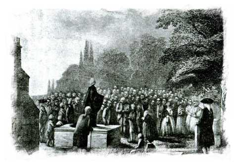 John Wesley preaching at his father's funeral