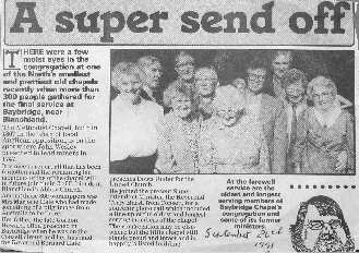 A 1991 Evening Chronicle article on Baybridge Chapel's closure